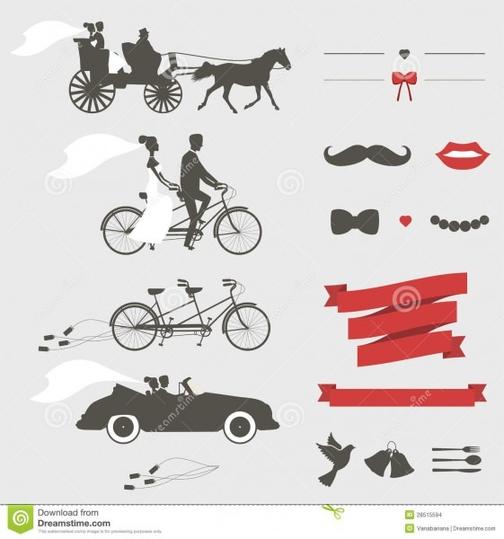 Set Of Wedding Invitation Design Elements Stock Illustration