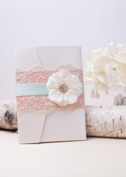 Shabby Chic  Mint And Peach Vintage Lace Pocketfold Wedding