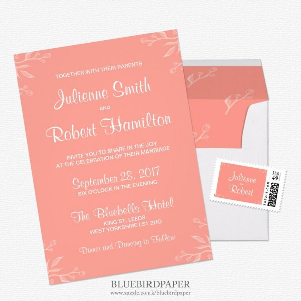 Simple And Elegant Coral Pink Wedding Invitations  2460271