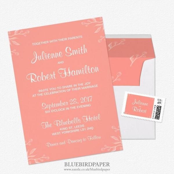 206458 Simple And Elegant Coral Pink Wedding Invitations 2460271