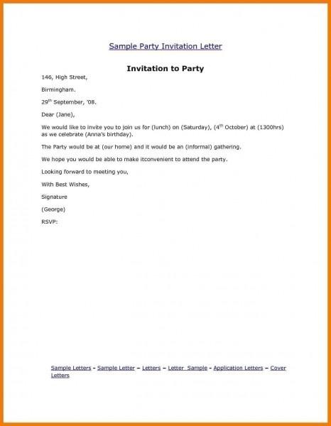Simple Birthday Invitation Letter