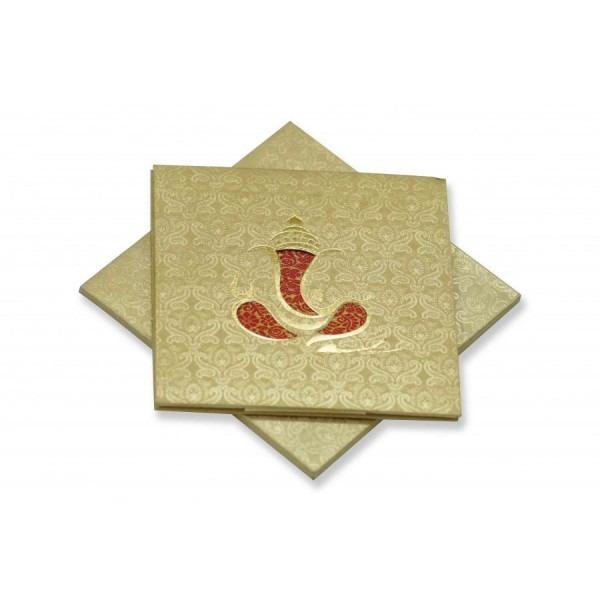 Small Size 4 Fold Accordian Wedding Invitation In Golden