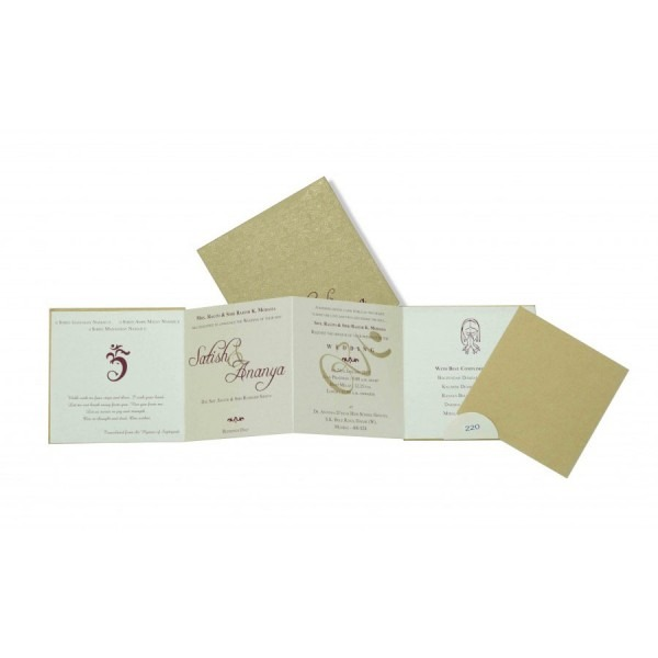 Small Size 4 Fold Accordian Wedding Invitation In Golden Color