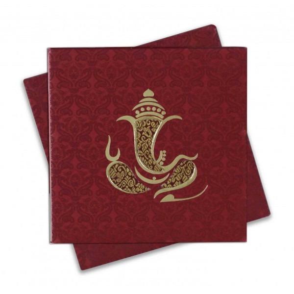 Small Size 4 Fold Accordian Wedding Invitation In Maroon