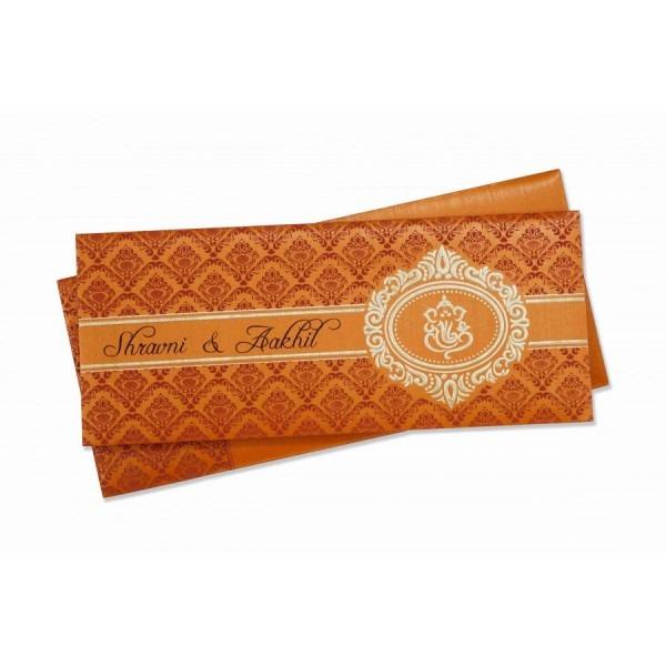 Small Size Wedding Invitation In Orange With Multicolor Inserts