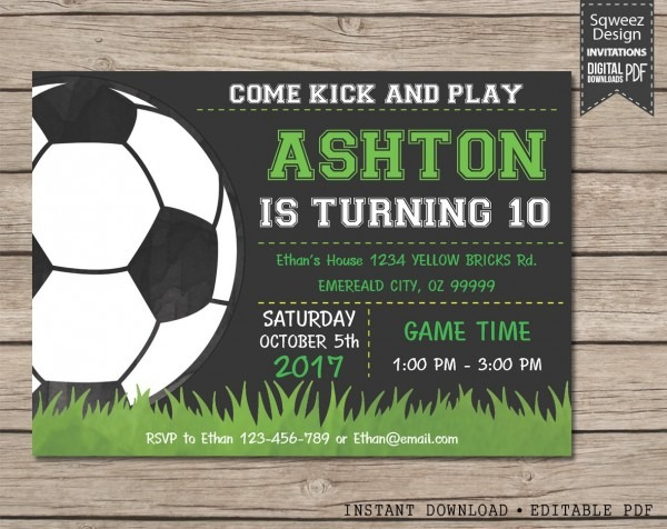 Soccer Invitation Soccer Luxury Soccer Party Invitations Birthday