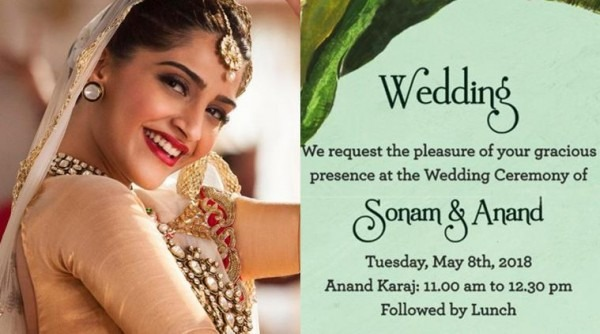 Check Out Sonam Kapoor And Anand Ahuja's Wedding Card