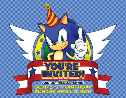Sonic The Hedgehog Birthday Invitations Perfect With Sonic The