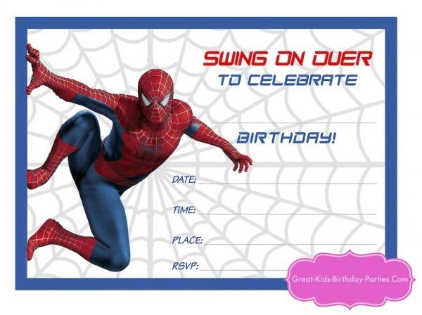 Great Spiderman Birthday Invitations