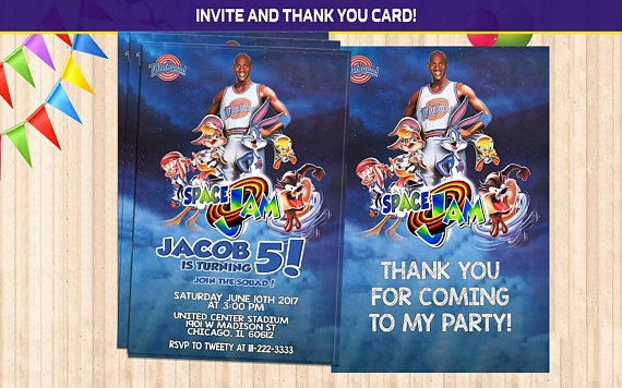 Space Jam Birthday Party Popular Space Jam Party Invitations