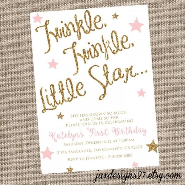 Sparkle Birthday Invitation, Twinkle Twinkle Little Star, Pink