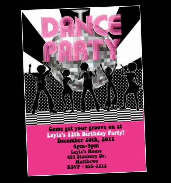 Danse Birthday Party Invitations Amazing Disco Party Invites