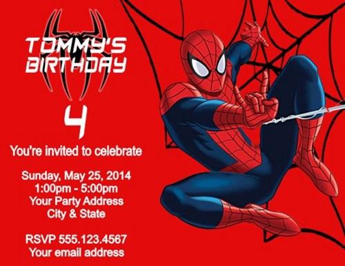 Spiderman Birth Good Spiderman Party Invitations