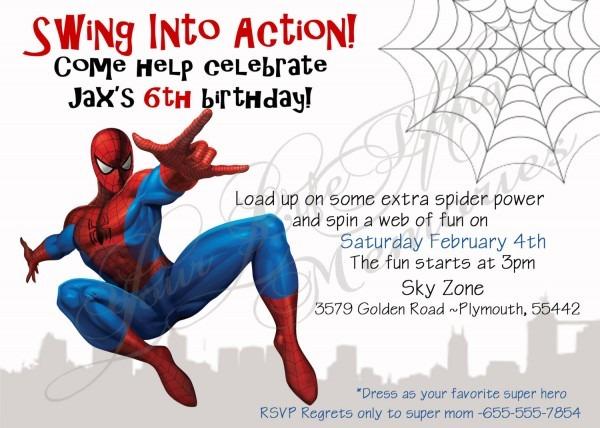 Spiderman Birthday Invitations Spiderman Birthday Invitations As