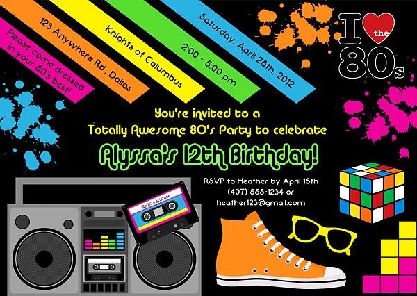 Invitation Template  80s Birthday Party Invitation