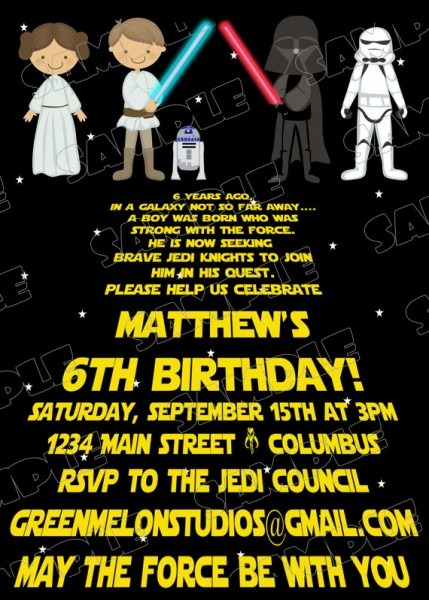 Ch Nice Star Wars Themed Party Invitations