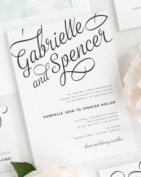 Statement Script Wedding Invitations