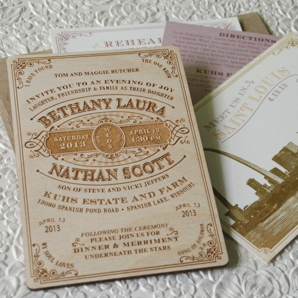 Vintage Wood Engraved Typography Wedding Invitation
