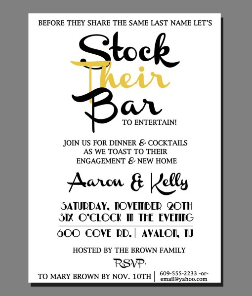 Stock The Bar Party Invitations Stock The Bar Party Invitations In