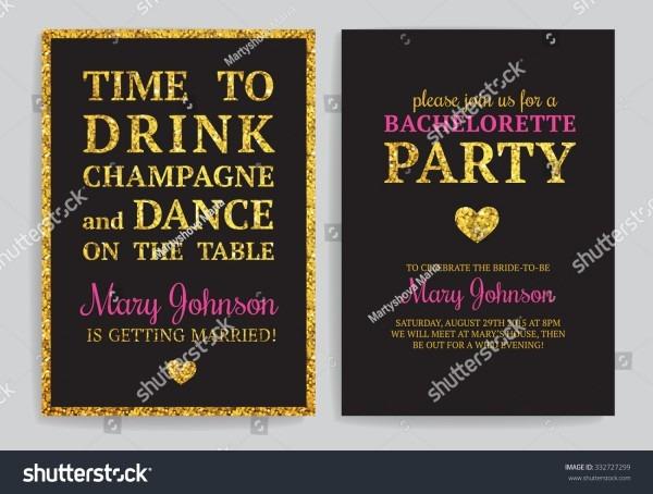 Bachelorette Party Invitations Set Vector Printable Stock Vector