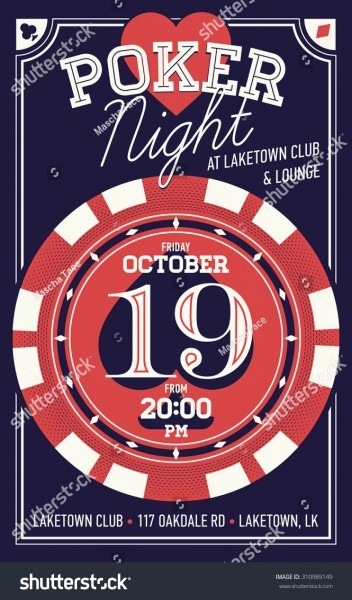 Beautiful Vector Poker Night Invitation Printable Stock Vector