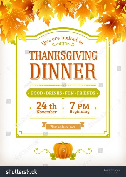 Invitation Thanksgiving Dinner Party Vector Template Stock Vector