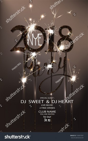 New Year Eve 2018 Party Invitation Stock Vector (royalty Free