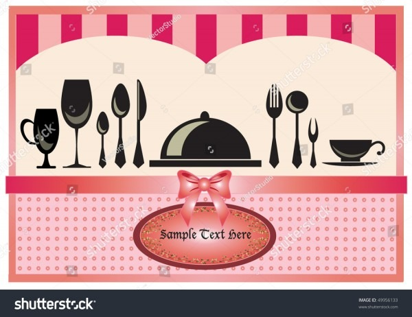 Restaurant Menu Invitation Card Pink Background Stock Vector
