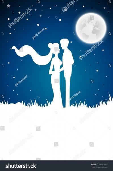 Wedding Invitation Card Silhouette Winterfull Moon Stock Vector