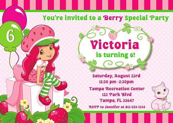 Strawberry Shortcake Birthday Invitations Cool With Strawberry