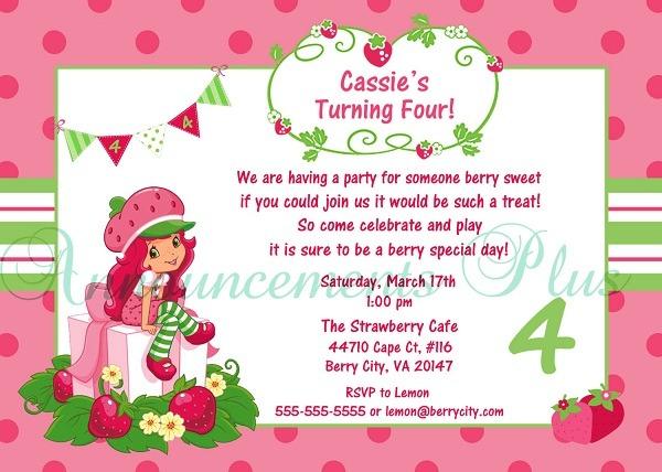 Strawberry Shortcake Birthday Invitations Wording Inspirational