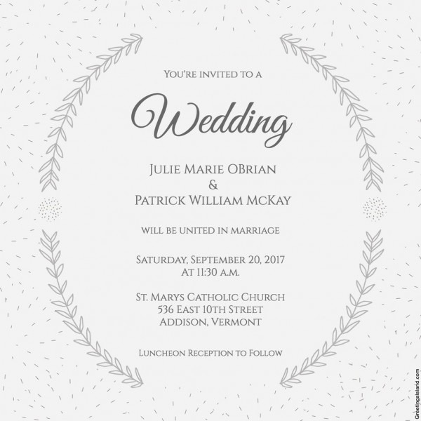 Stylized Laurels Wedding Invitation
