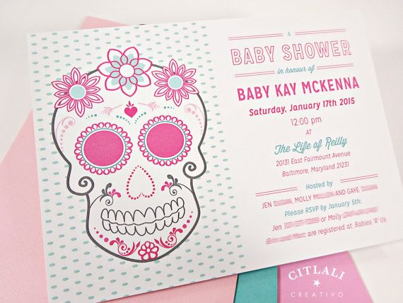 Sugar Skull Baby Shower Invitations