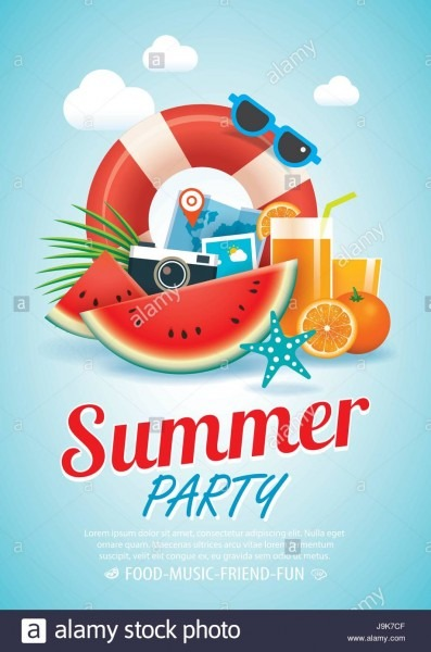 Summer Beach Party Invitation Poster Background And Elements In A4
