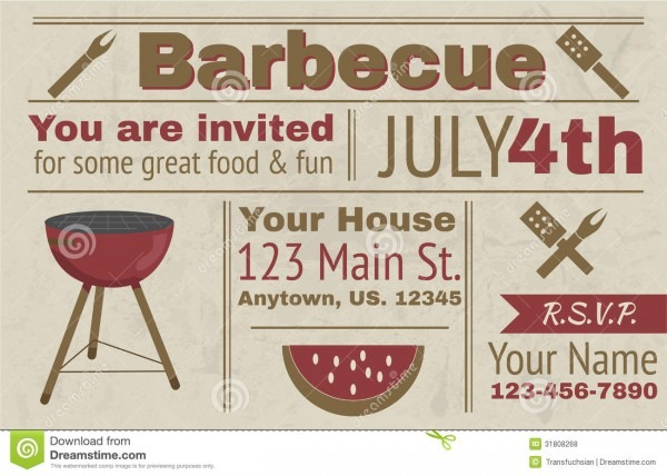 Summer Barbecue Invitation Stock Vector  Illustration Of Grill