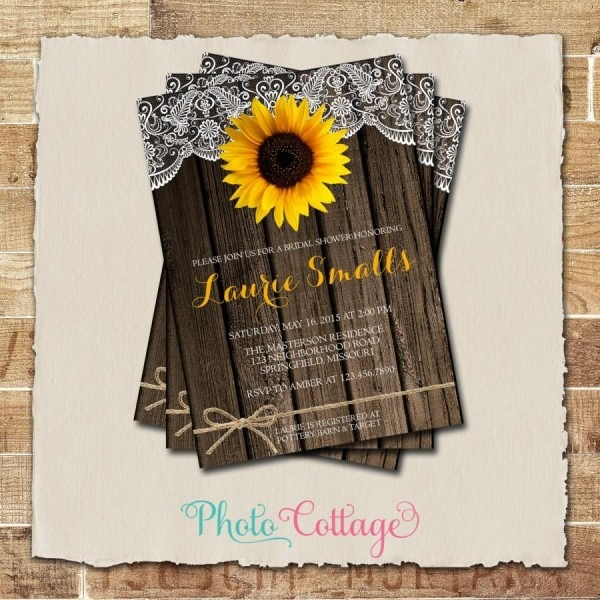 Sunflower Bridal Shower Invitation, Rustic Wood And Lace