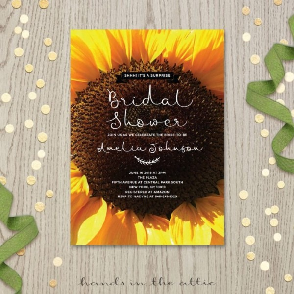 Sunflower Bridal Shower Invitations Sunflower Bridal Shower