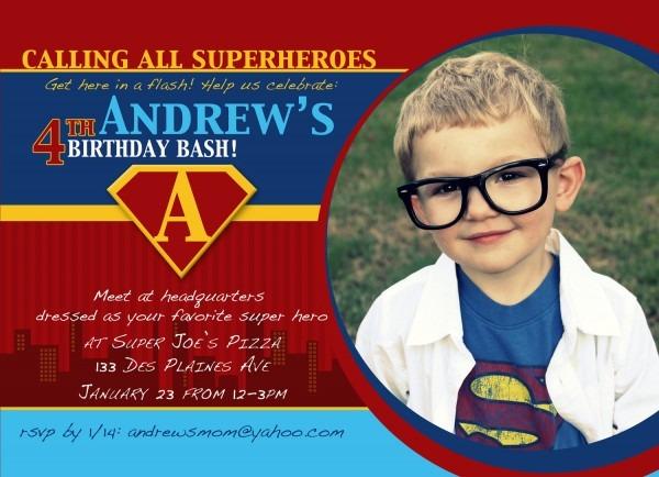 Creative Superhero Birthday Invitation With Custom Photograph
