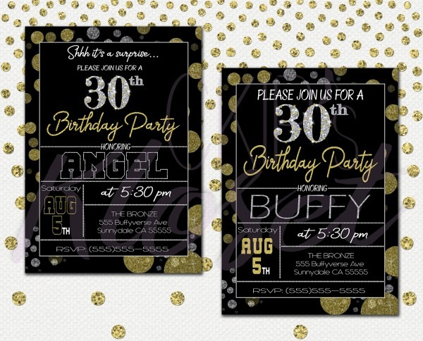 Surprise 30th Birthday Invitations For Him Or Her – Mens Or Womens