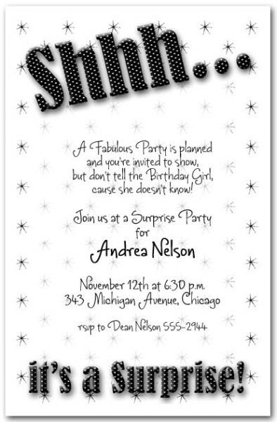 Surprise Birthday Invitation Wording Fabulous Script Birthday