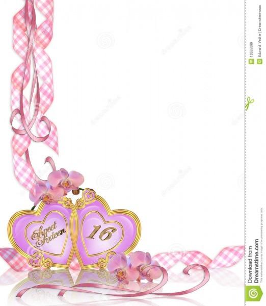 Sweet 16 Birthday Invitation Border Stock Illustration