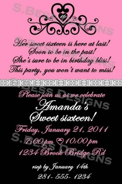 Sweet Invitation Templates Sweet Sixteen Invitation Templates