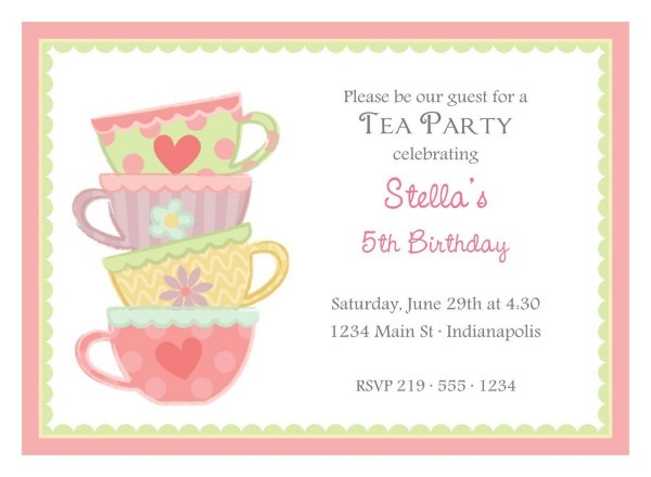 Tea Party Birthday Invitations Tea Party Birthday Invitations With