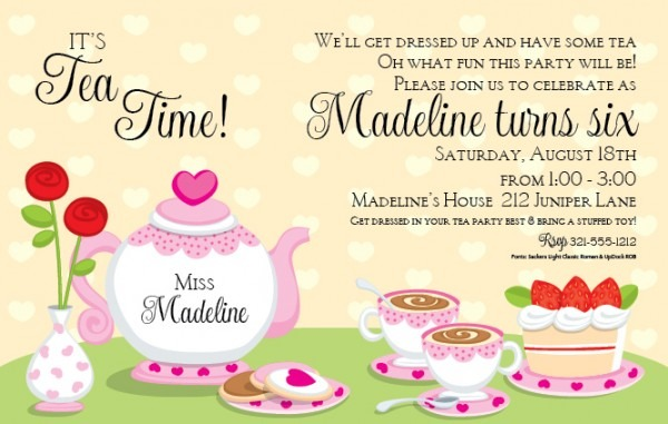 Tea Party Invitation Template Tea Party Invitation Template With