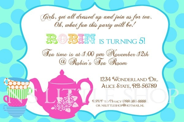 Party Invitation Template Tea Party Invitation Wording Free