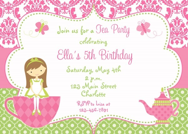 Tea Party Invitations Templates Free Awesome Tea Party Invitation
