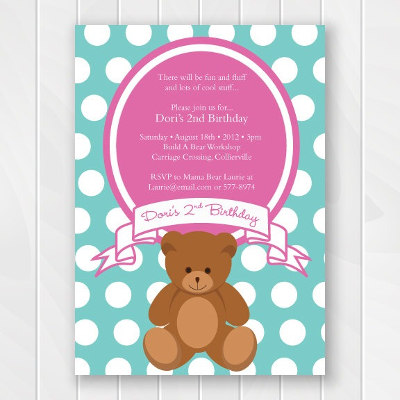 Teddy Bear First Birthday Invitations Lovely With Teddy Bear First