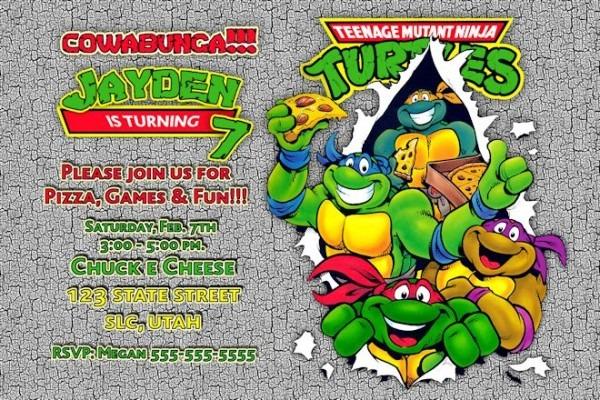 Teenage M Lovely Ninja Turtle Birthday Invitation Template