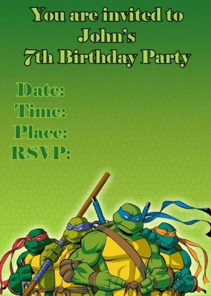Ninja Turtle Invitation Template Best Ninja Turtle Birthday
