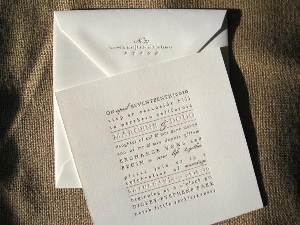 Typographic Letterpress Wedding Invitations